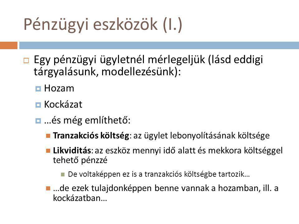 Pénzügyi eszközök (I.) Egy pénzügyi ügyletnél mérlegeljük (lásd eddigi tárgyalásunk, modellezésünk):