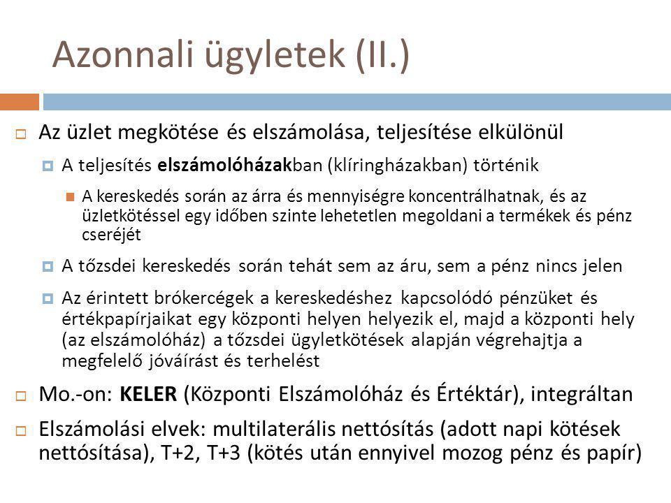 Azonnali ügyletek (II.)