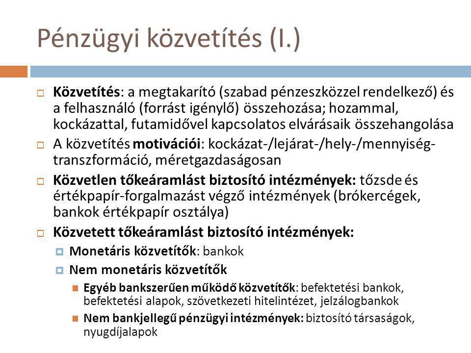 Pénzügyi közvetítés (I.)