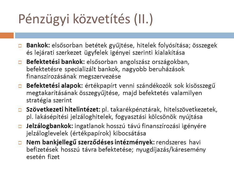 Pénzügyi közvetítés (II.)