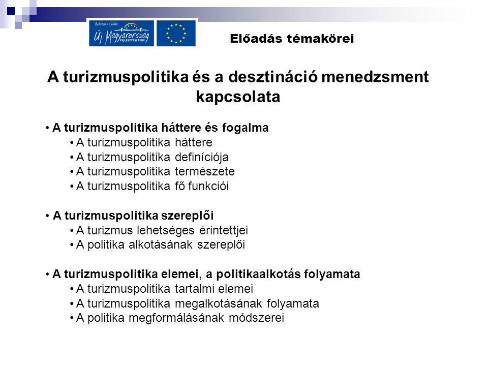 A turizmuspolitika és a desztináció menedzsment kapcsolata