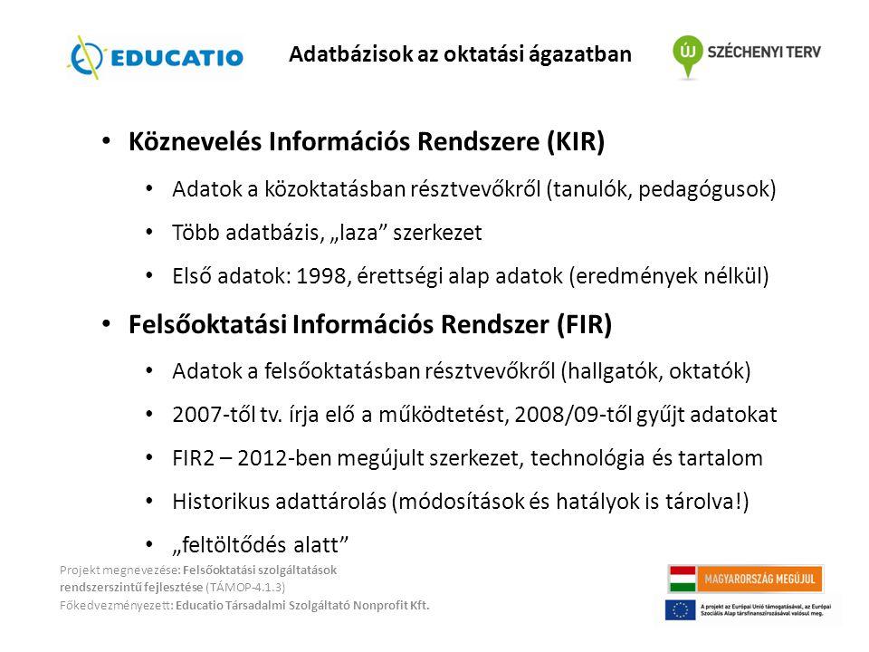 Adatbázisok az oktatási ágazatban