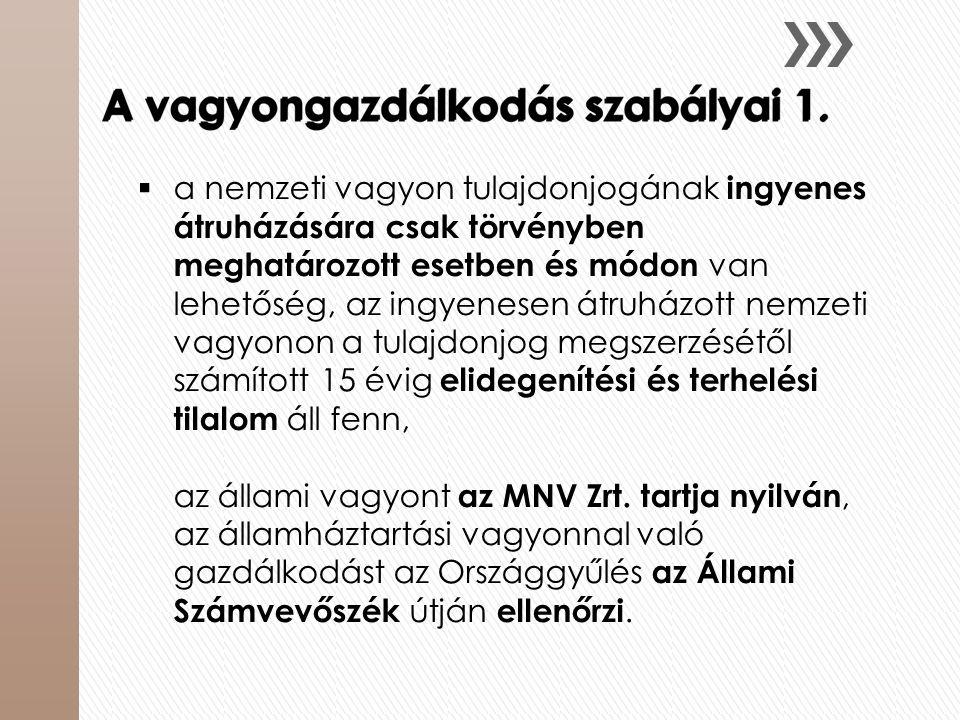 a nemzeti vagyon tulajdonjogának ingyenes átruházására csak törvényben meghatározott esetben és módon van lehetőség, az ingyenesen átruházott nemzeti vagyonon a tulajdonjog megszerzésétől számított 15 évig elidegenítési és terhelési tilalom áll fenn, az állami vagyont az MNV Zrt.