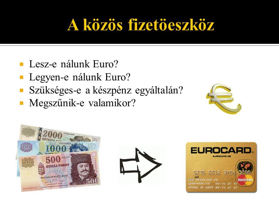 A közös fizetöeszköz Lesz-e nálunk Euro Legyen-e nálunk Euro