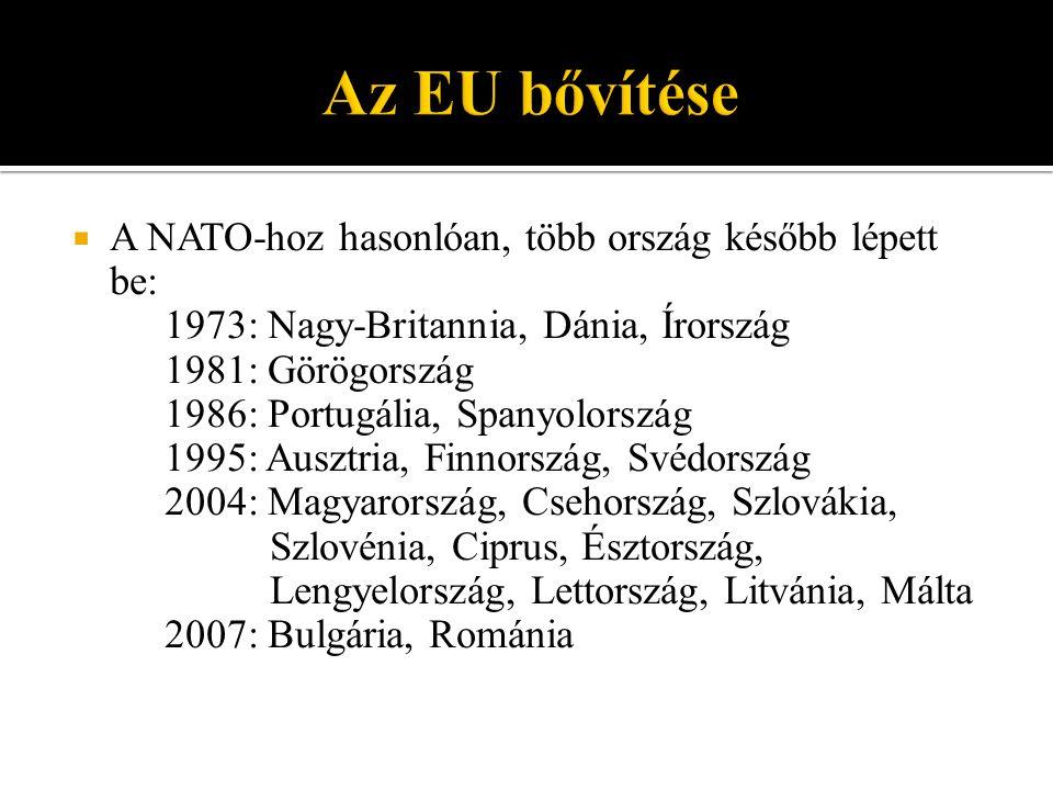 Az EU bővítése A NATO-hoz hasonlóan, több ország később lépett be: