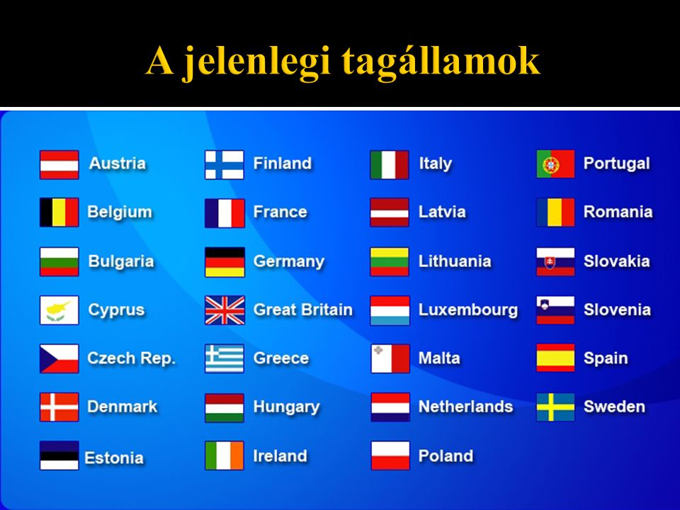 A jelenlegi tagállamok