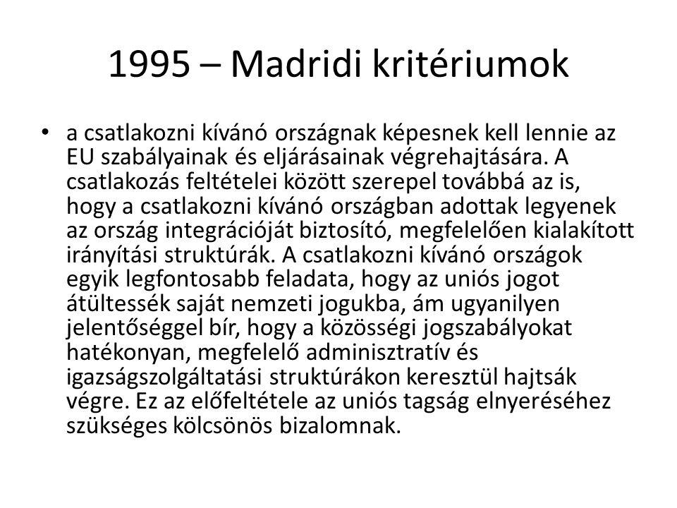 1995 – Madridi kritériumok
