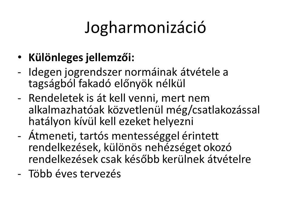 Jogharmonizáció Különleges jellemzői:
