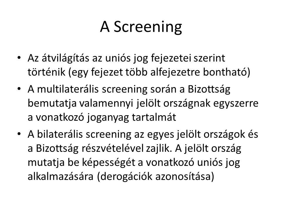 A Screening Az átvilágítás az uniós jog fejezetei szerint történik (egy fejezet több alfejezetre bontható)