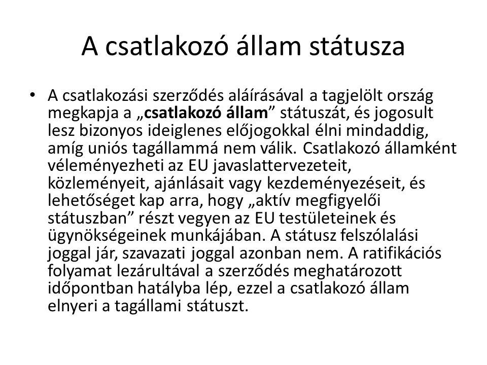A csatlakozó állam státusza