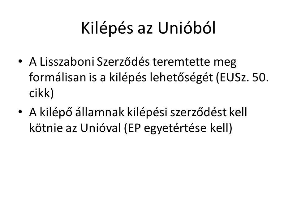 Kilépés az Unióból A Lisszaboni Szerződés teremtette meg formálisan is a kilépés lehetőségét (EUSz. 50. cikk)