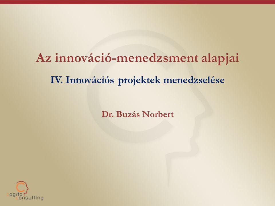 Az innováció-menedzsment alapjai IV. Innovációs projektek menedzselése