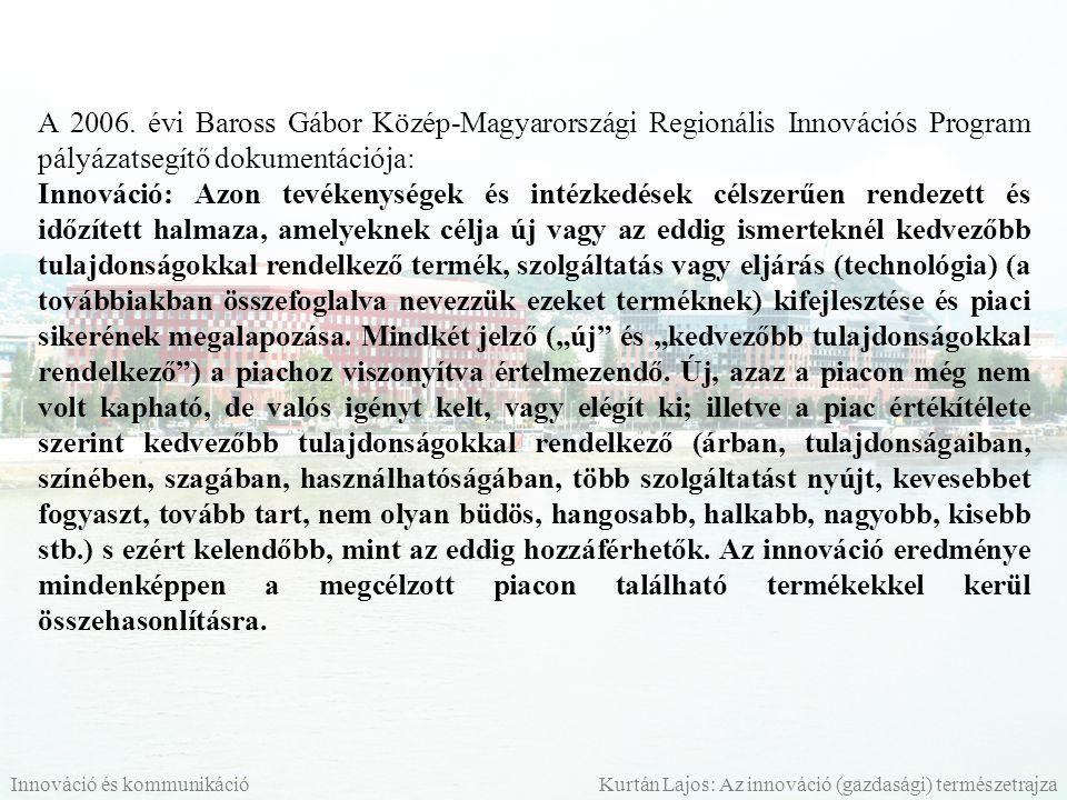 A 2006. évi Baross Gábor Közép-Magyarországi Regionális Innovációs Program pályázatsegítő dokumentációja: