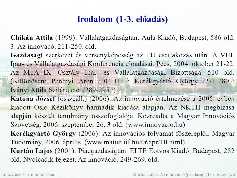 Irodalom (1-3. előadás) Chikán Attila (1999): Vállalatgazdaságtan. Aula Kiadó, Budapest, 586 old. 3. Az innovácó. 211-250. old.