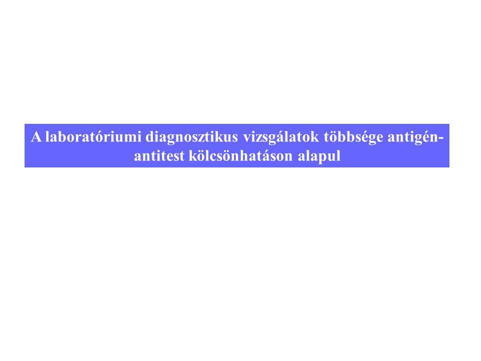 A laboratóriumi diagnosztikus vizsgálatok többsége antigén-antitest kölcsönhatáson alapul