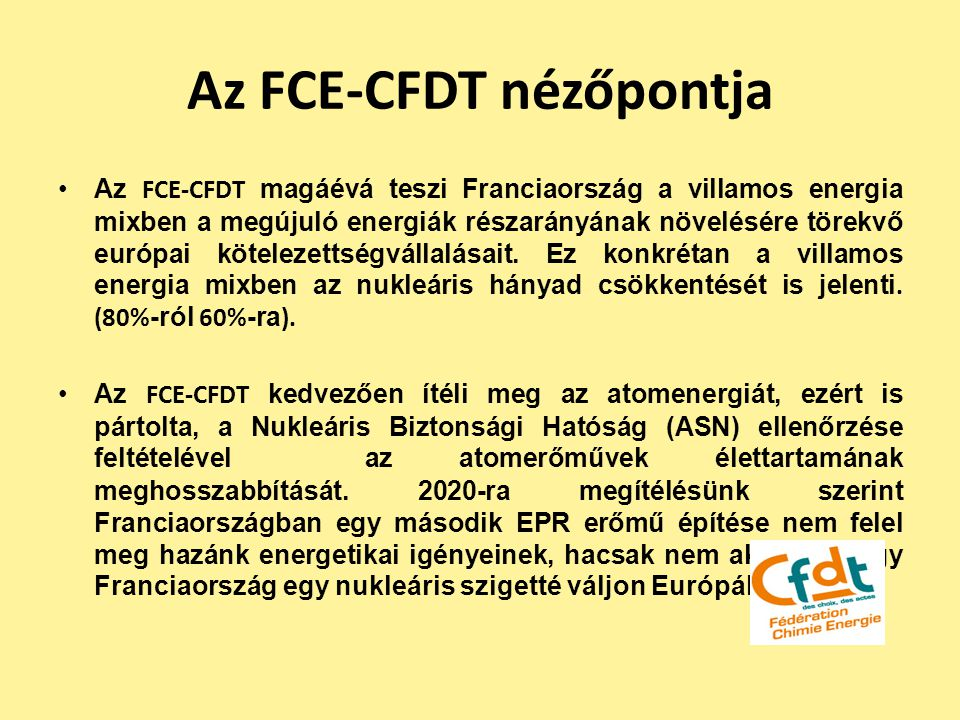 Az FCE-CFDT nézőpontja