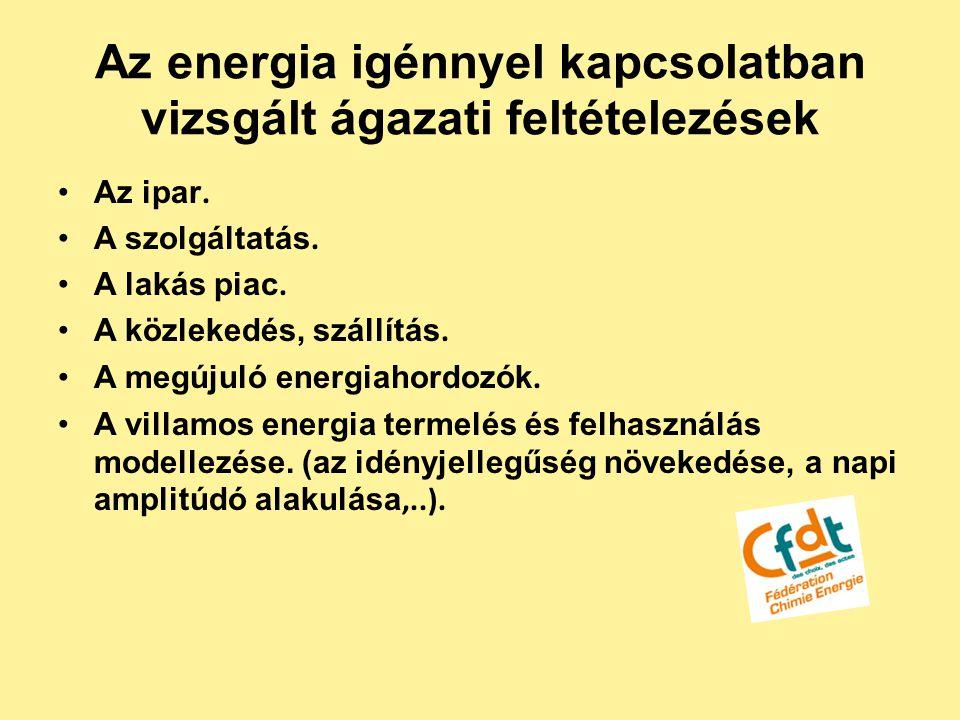 Az energia igénnyel kapcsolatban vizsgált ágazati feltételezések