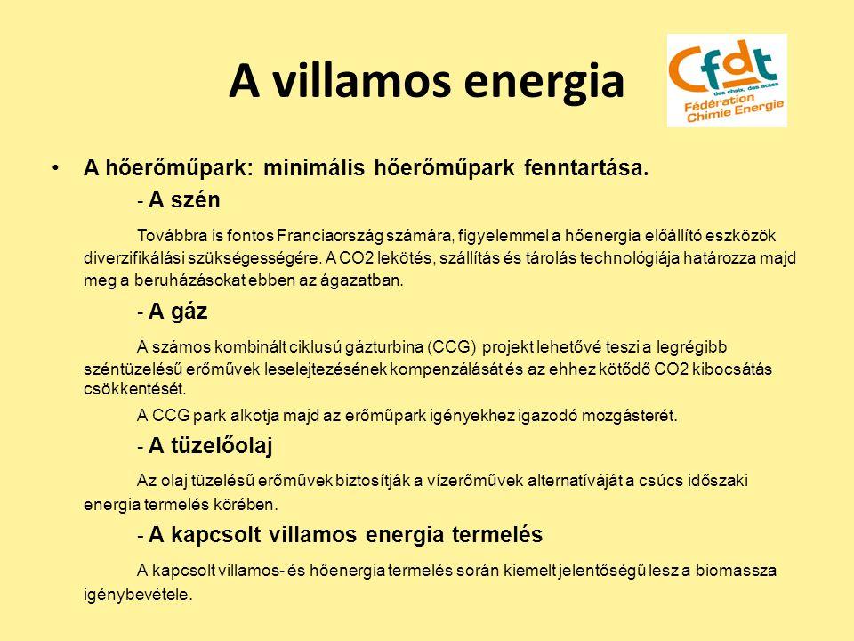 A villamos energia A hőerőműpark: minimális hőerőműpark fenntartása. - A szén.