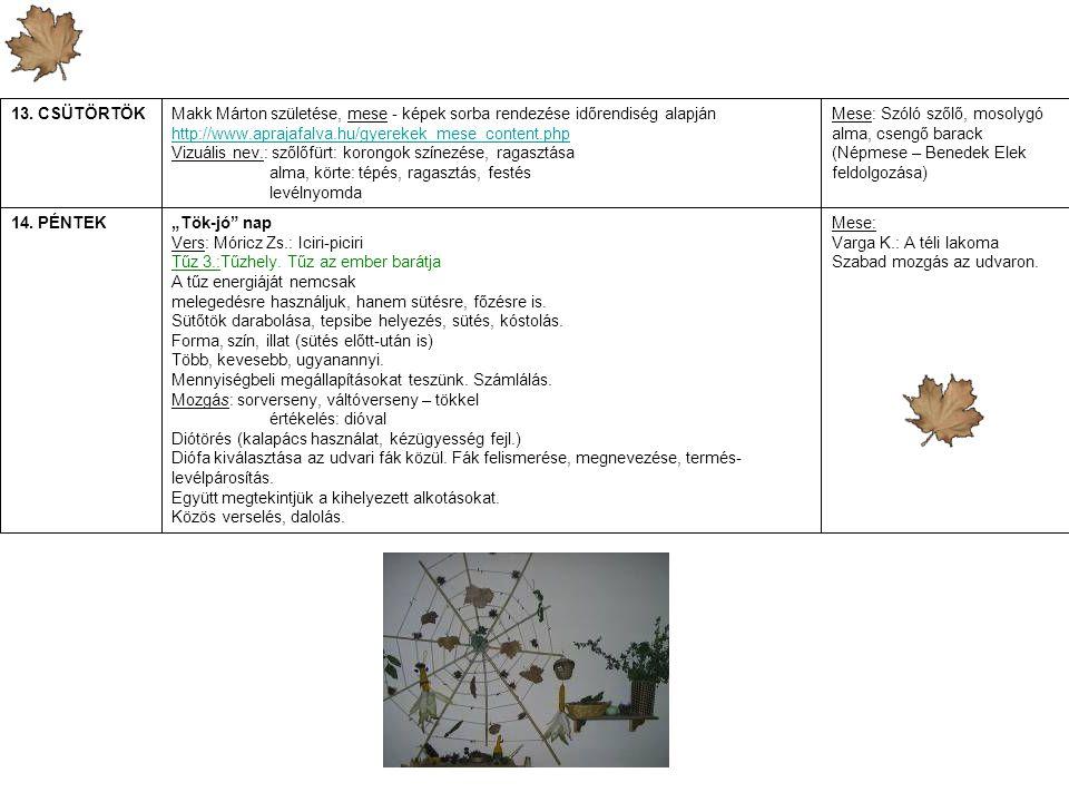 13. CSÜTÖRTÖK Makk Márton születése, mese - képek sorba rendezése időrendiség alapján. http://www.aprajafalva.hu/gyerekek_mese_content.php.