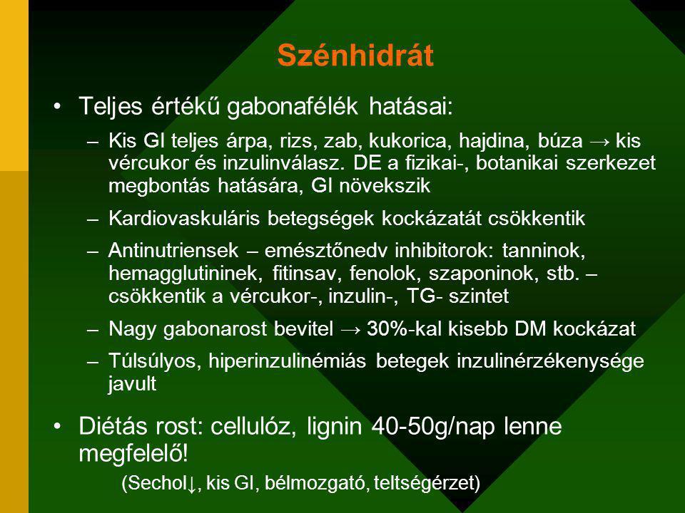 Szénhidrát Teljes értékű gabonafélék hatásai: