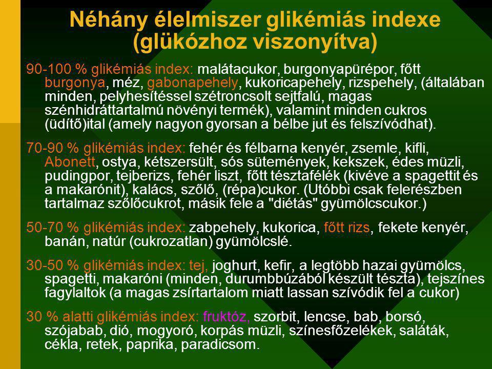 Néhány élelmiszer glikémiás indexe (glükózhoz viszonyítva)