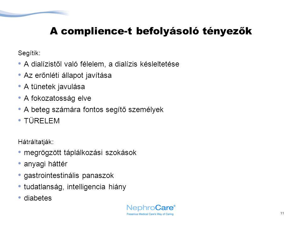 A complience-t befolyásoló tényezők