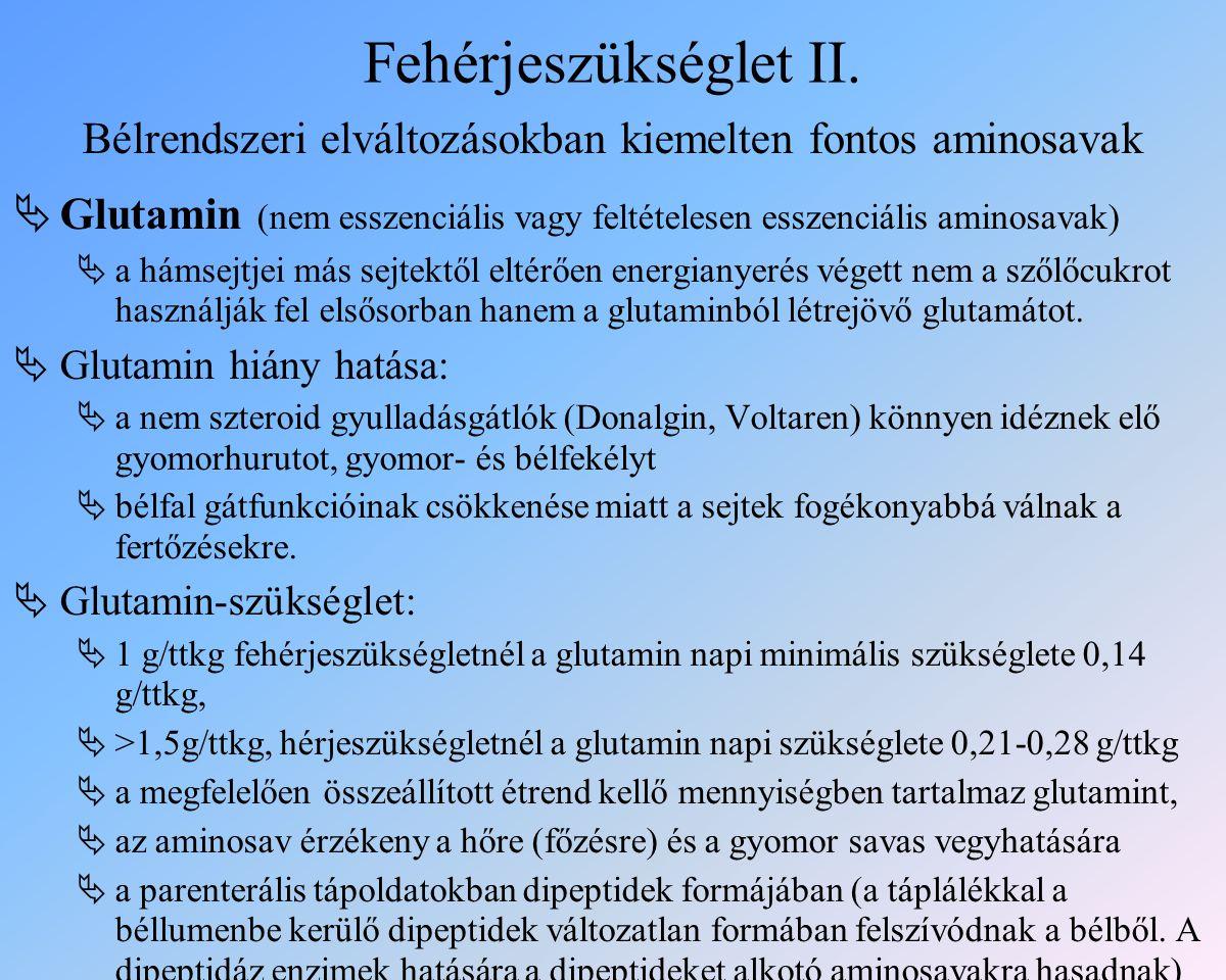 Bélrendszeri elváltozásokban kiemelten fontos aminosavak