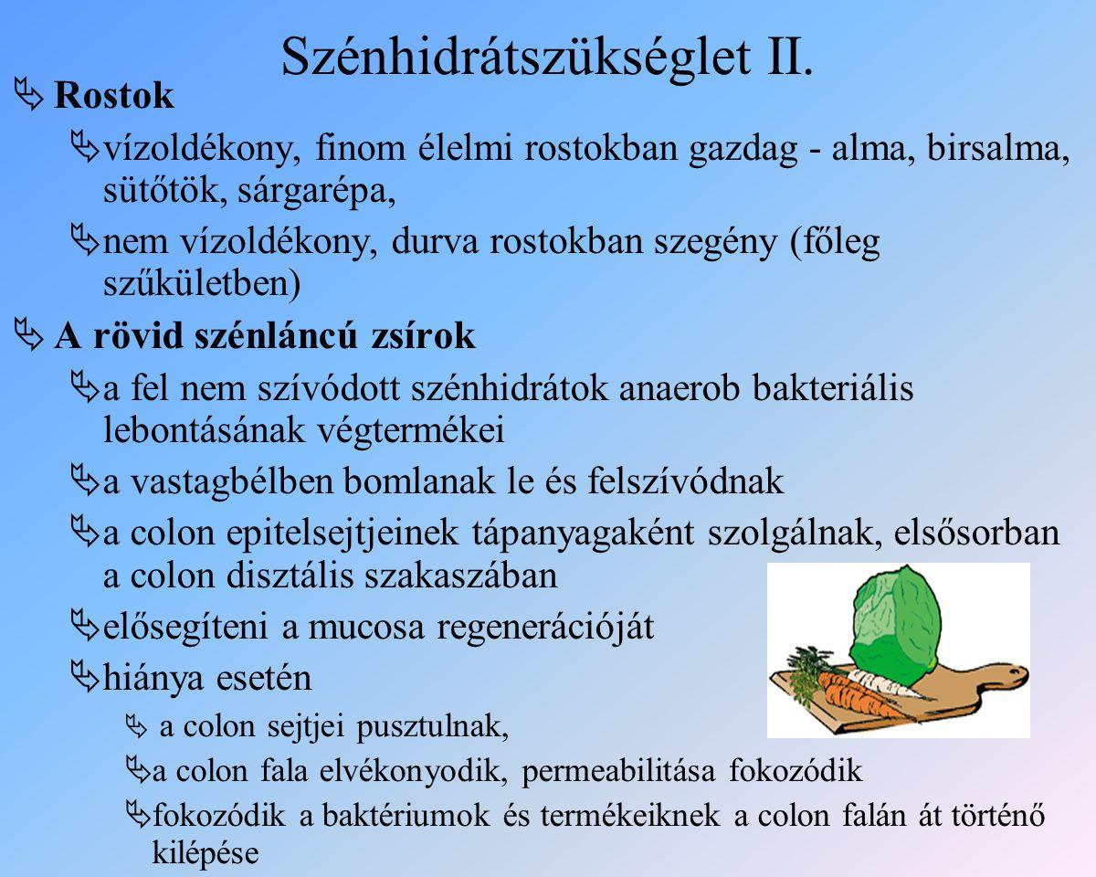 Szénhidrátszükséglet II.