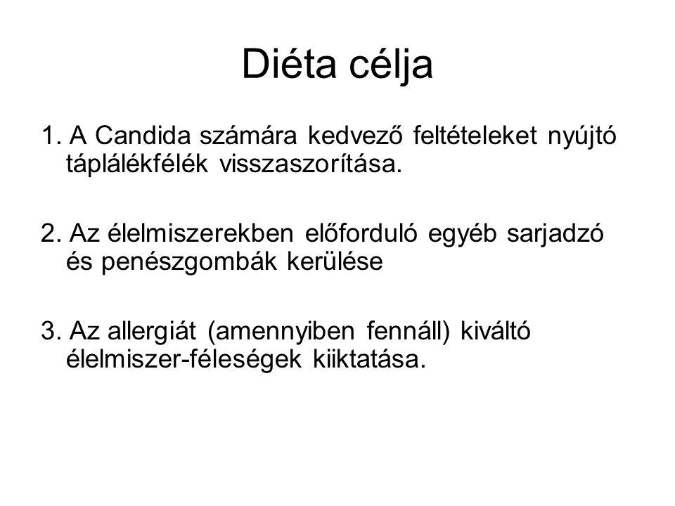 Diéta célja 1. A Candida számára kedvező feltételeket nyújtó táplálékfélék visszaszorítása.