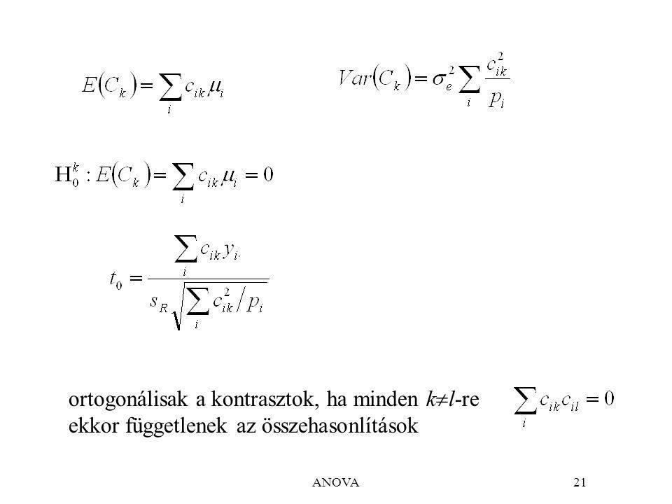 ortogonálisak a kontrasztok, ha minden kl-re