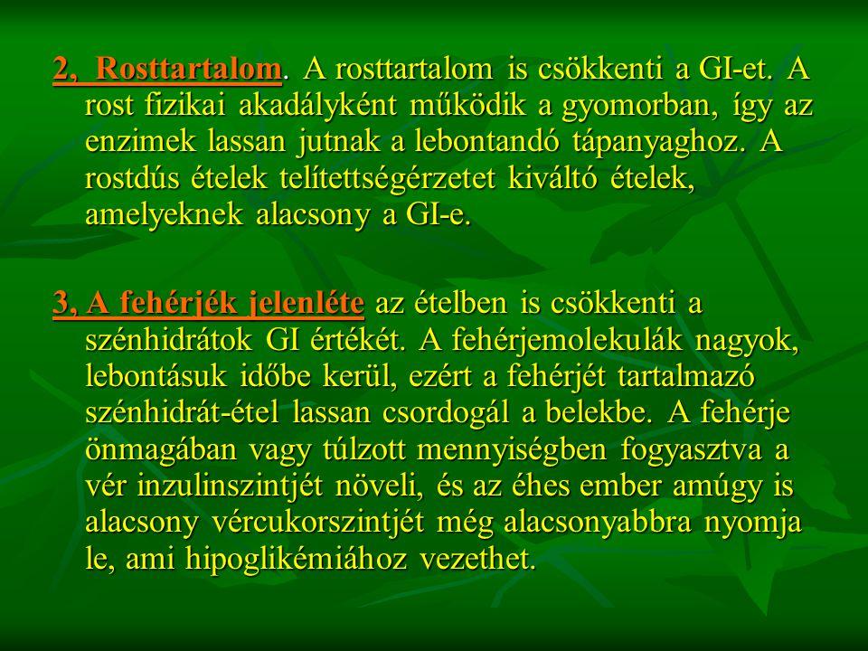 2, Rosttartalom. A rosttartalom is csökkenti a GI-et