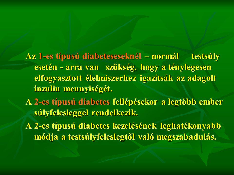 Az 1-es típusú diabeteseseknél – normál testsúly esetén - arra van szükség, hogy a ténylegesen elfogyasztott élelmiszerhez igazítsák az adagolt inzulin mennyiségét.