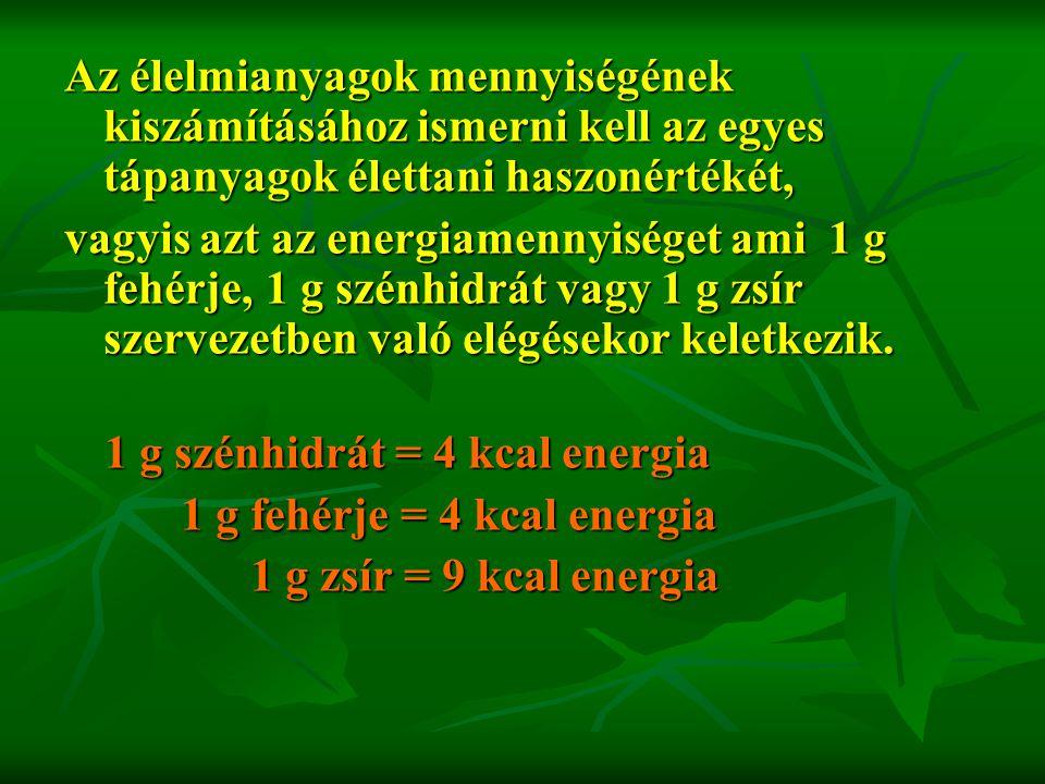 1 g fehérje = 4 kcal energia 1 g zsír = 9 kcal energia