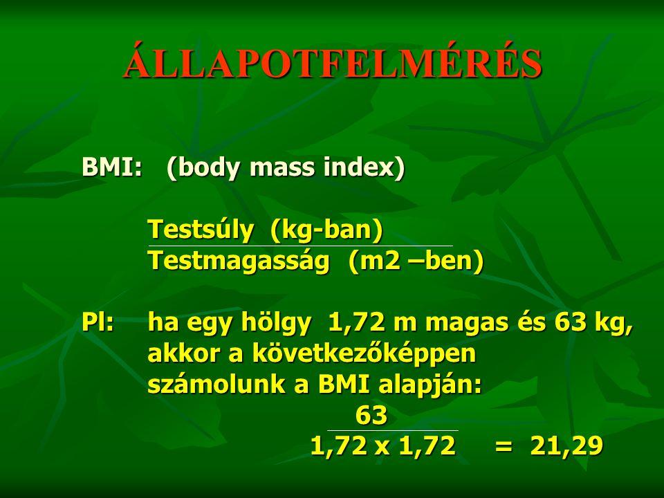 ÁLLAPOTFELMÉRÉS BMI: (body mass index) Testsúly (kg-ban)