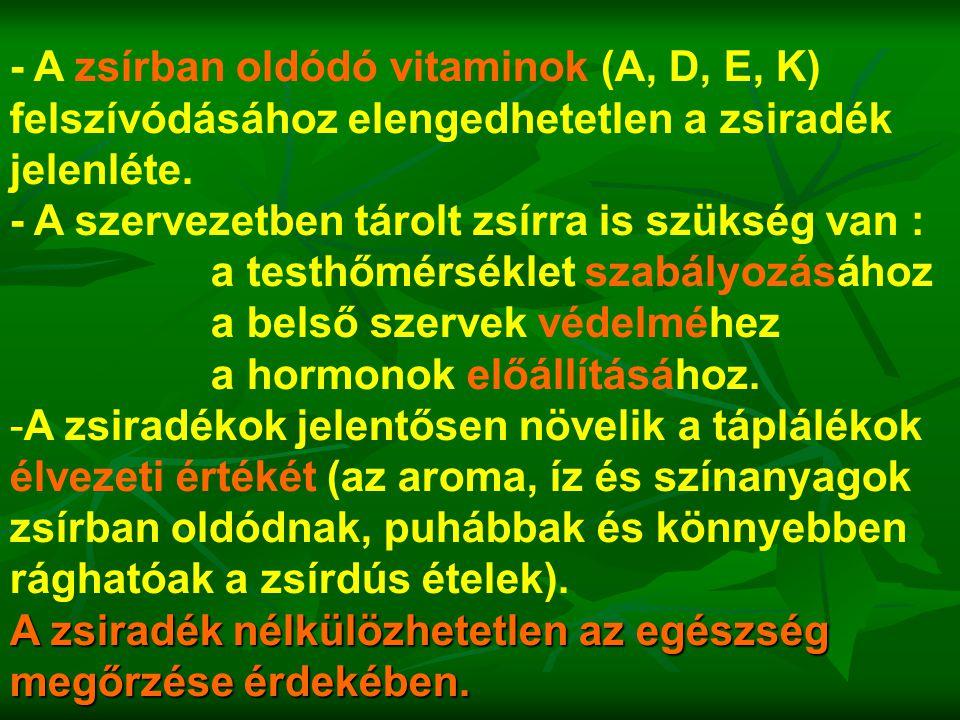 - A zsírban oldódó vitaminok (A, D, E, K) felszívódásához elengedhetetlen a zsiradék jelenléte.