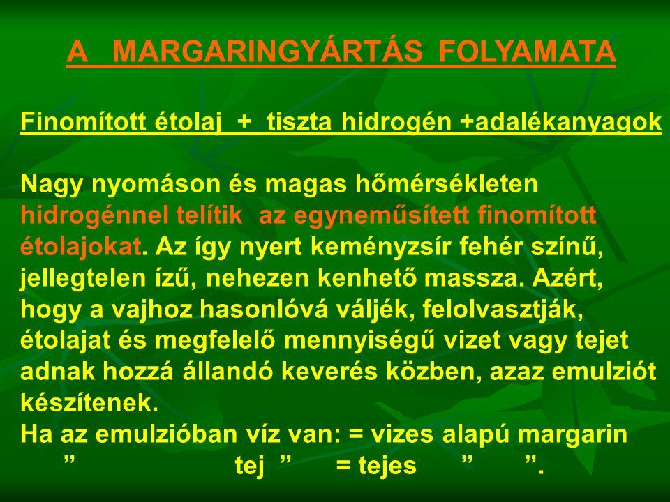 A MARGARINGYÁRTÁS FOLYAMATA