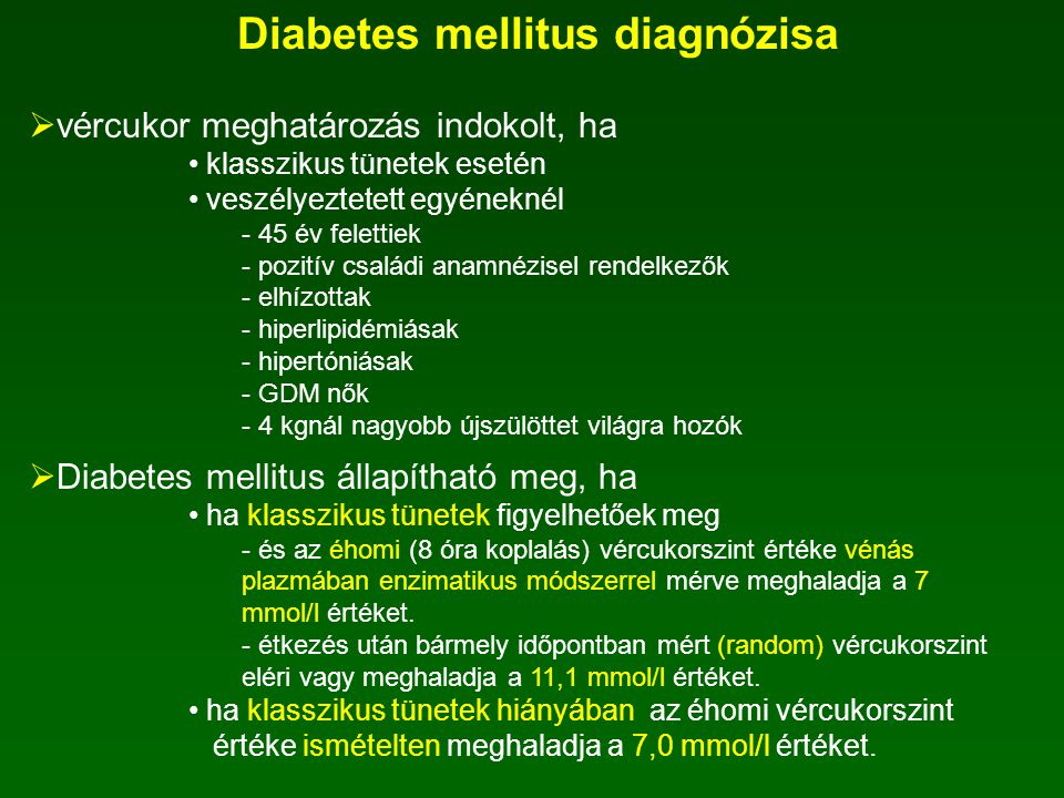 Diabetes mellitus diagnózisa