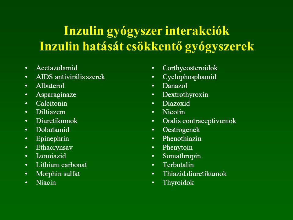 Inzulin gyógyszer interakciók Inzulin hatását csökkentő gyógyszerek