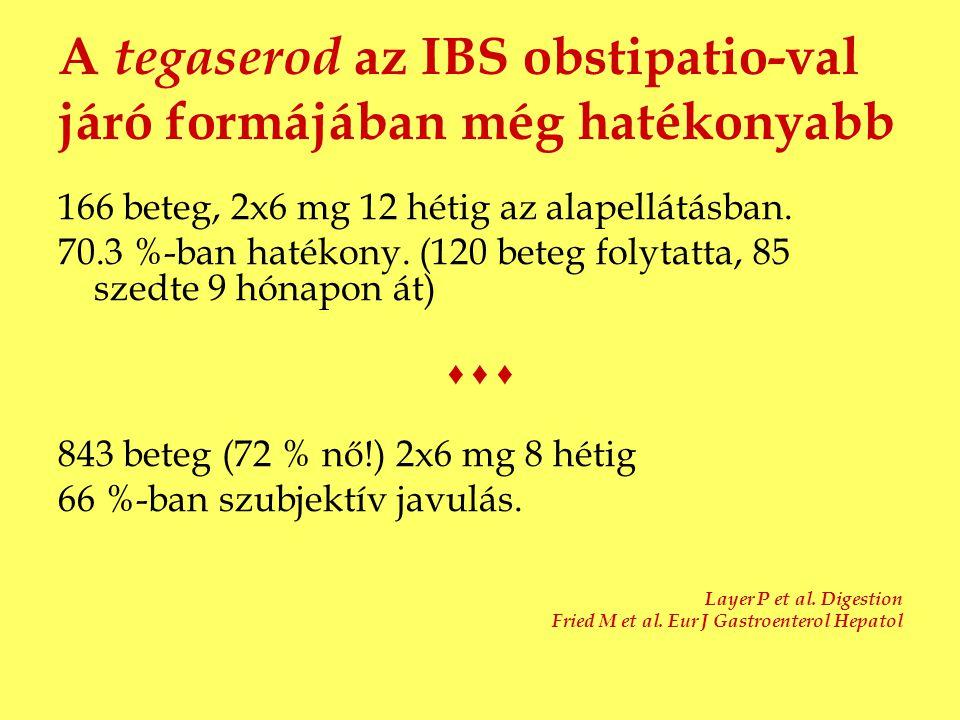 A tegaserod az IBS obstipatio-val járó formájában még hatékonyabb