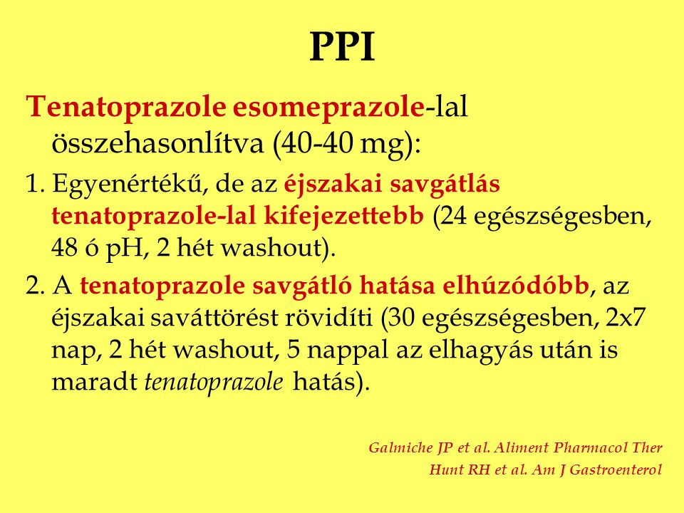 PPI Tenatoprazole esomeprazole-lal összehasonlítva (40-40 mg):