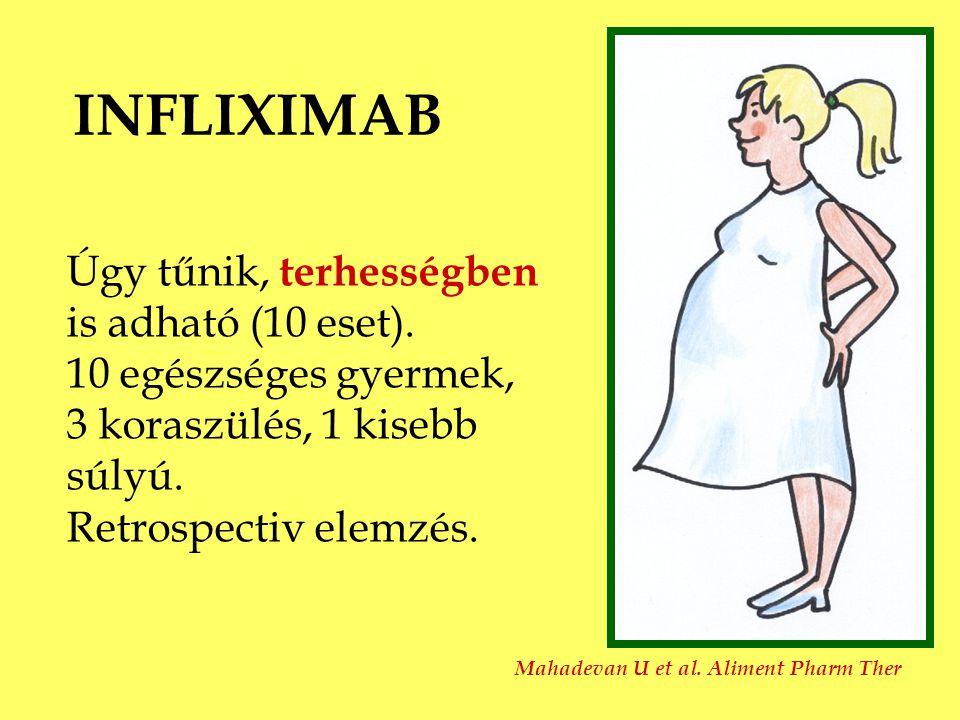 INFLIXIMAB Úgy tűnik, terhességben is adható (10 eset).