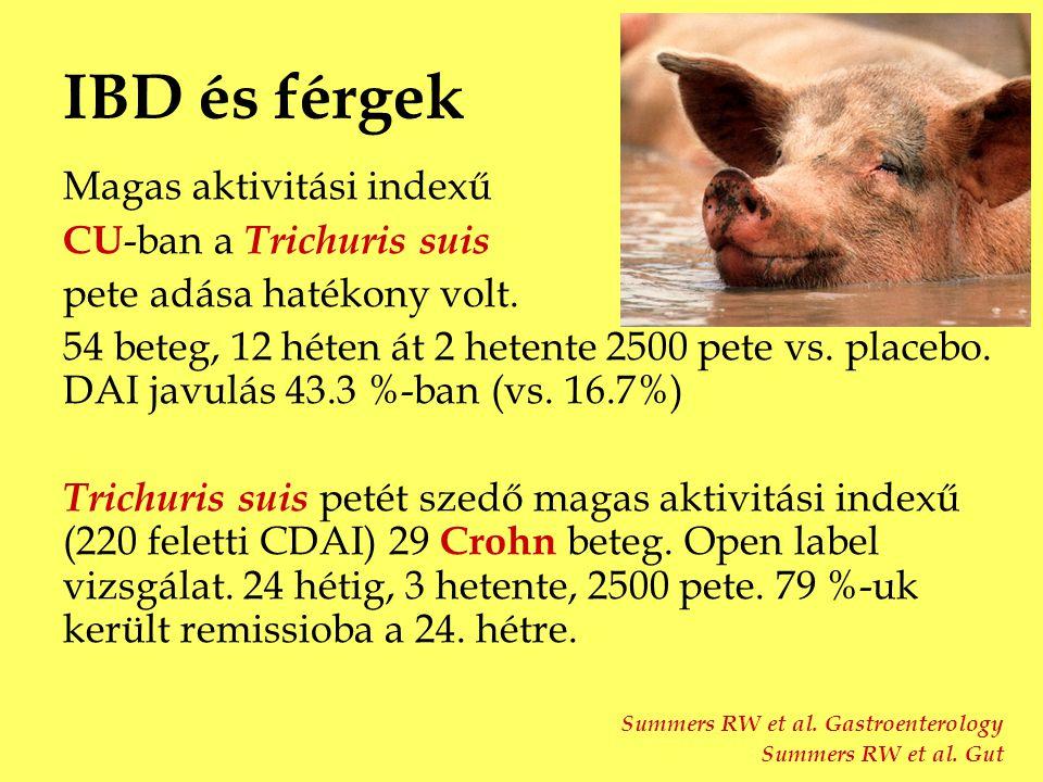 IBD és férgek Magas aktivitási indexű CU-ban a Trichuris suis