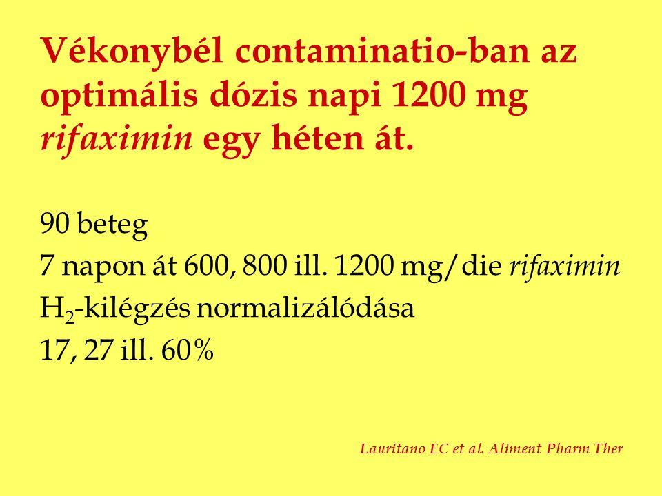 Vékonybél contaminatio-ban az optimális dózis napi 1200 mg rifaximin egy héten át.