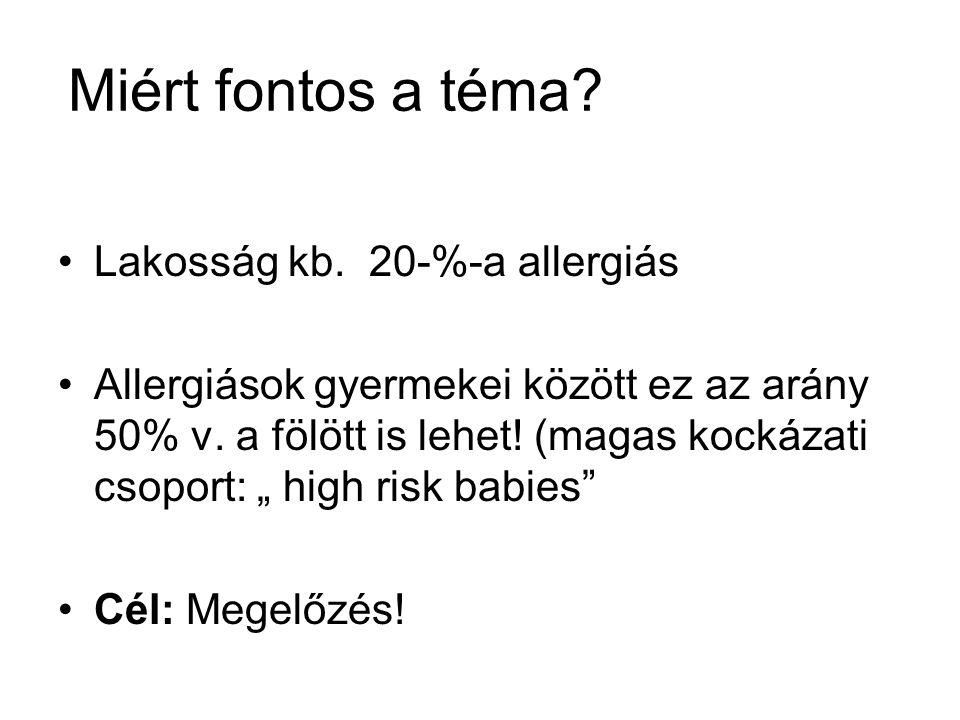 Miért fontos a téma Lakosság kb. 20-%-a allergiás