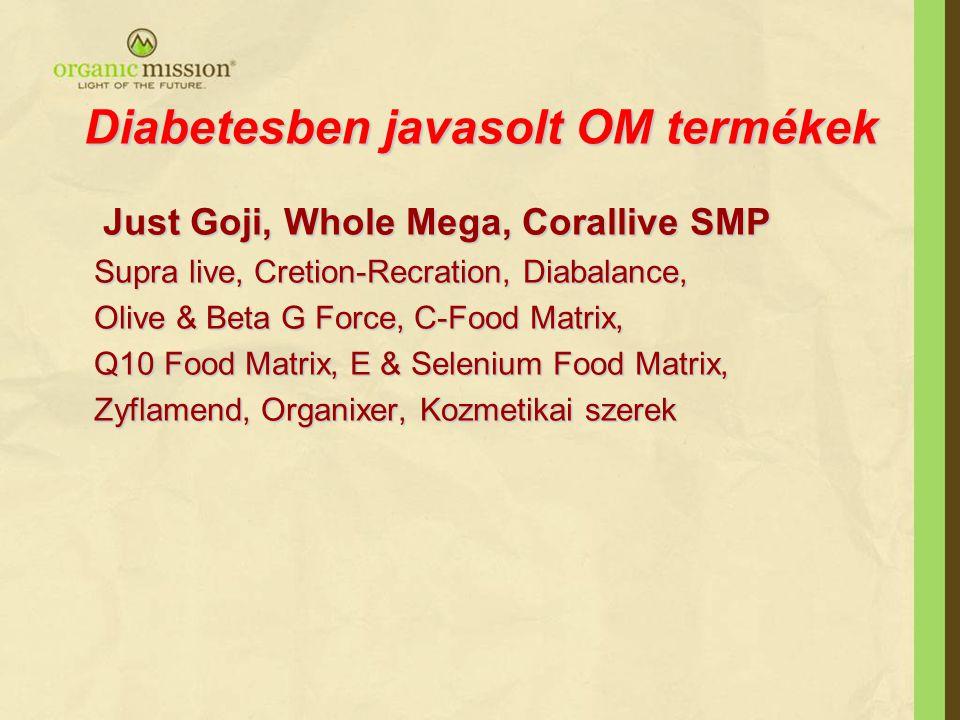 Diabetesben javasolt OM termékek