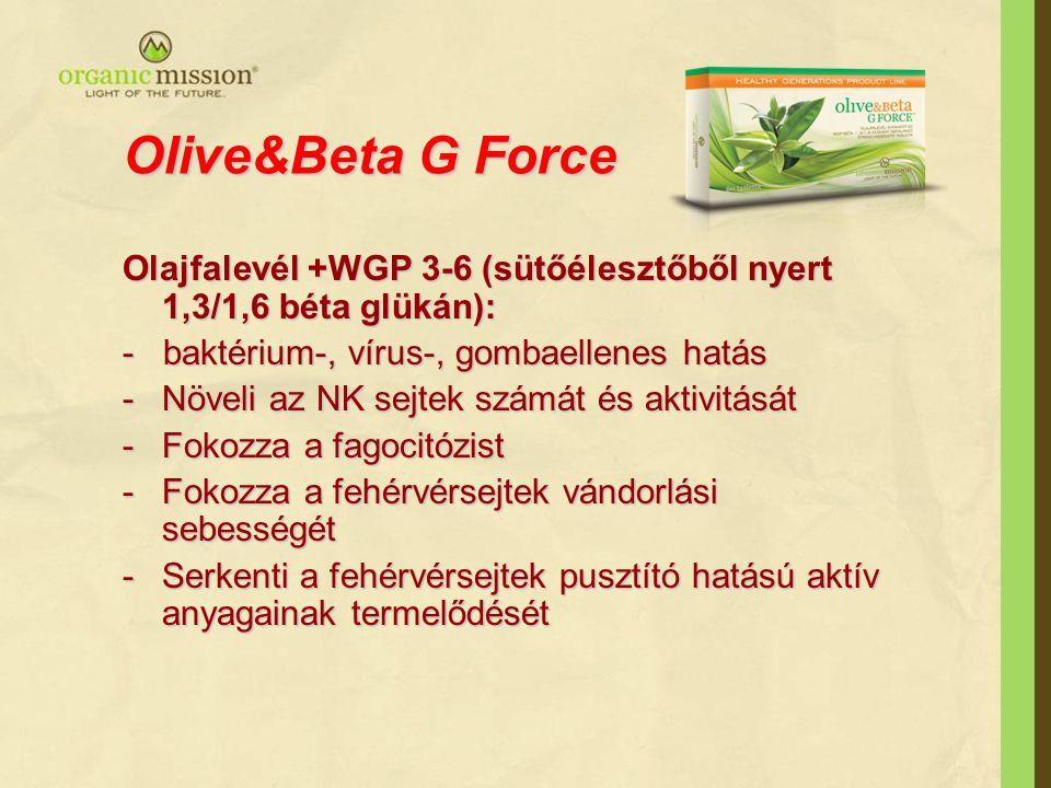 Olive&Beta G Force Olajfalevél +WGP 3-6 (sütőélesztőből nyert 1,3/1,6 béta glükán): - baktérium-, vírus-, gombaellenes hatás.