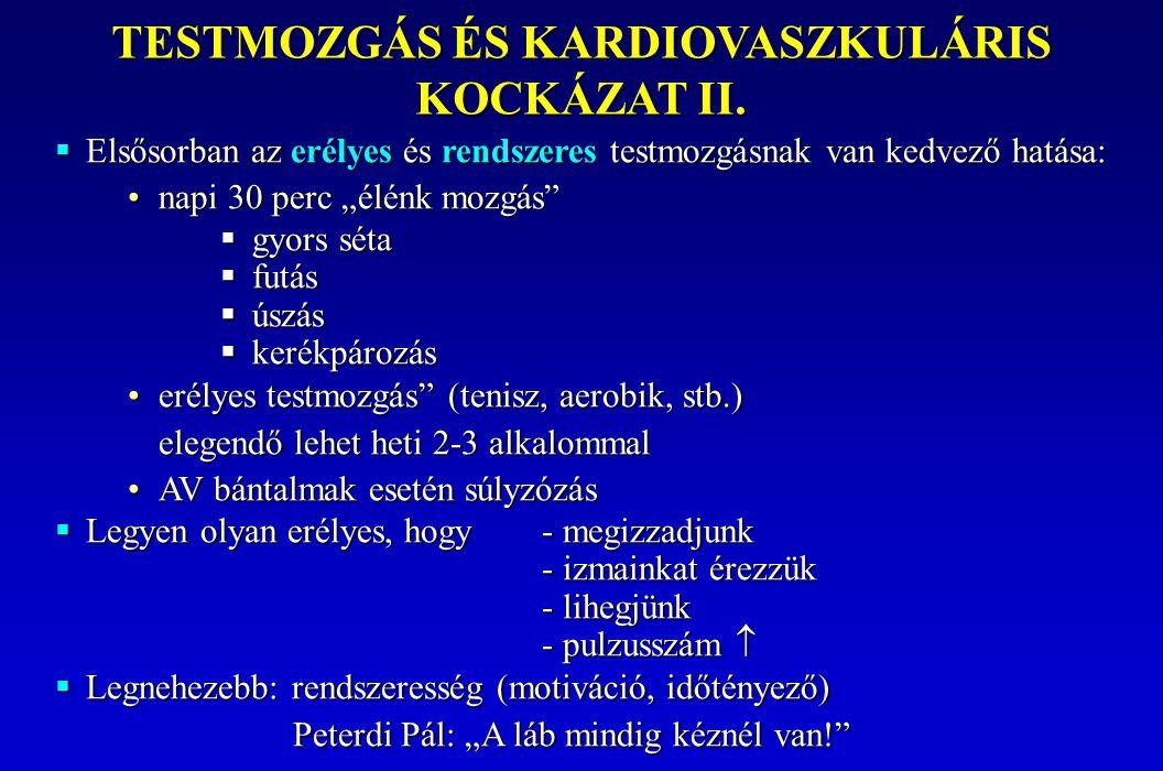TESTMOZGÁS ÉS KARDIOVASZKULÁRIS KOCKÁZAT II.
