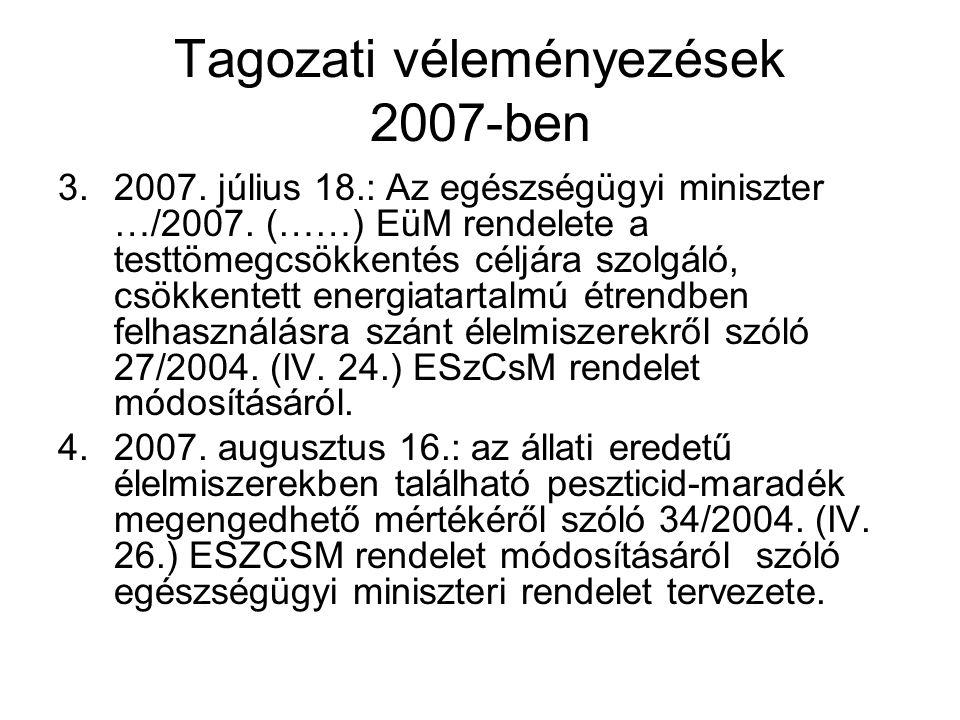 Tagozati véleményezések 2007-ben