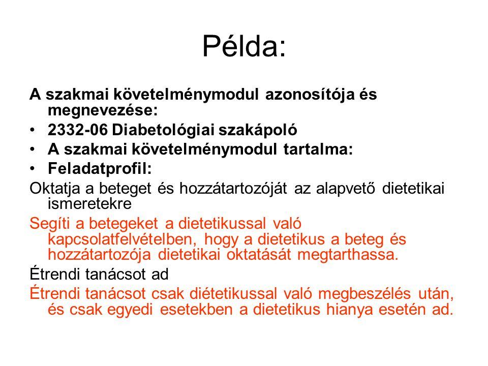 Példa: A szakmai követelménymodul azonosítója és megnevezése: