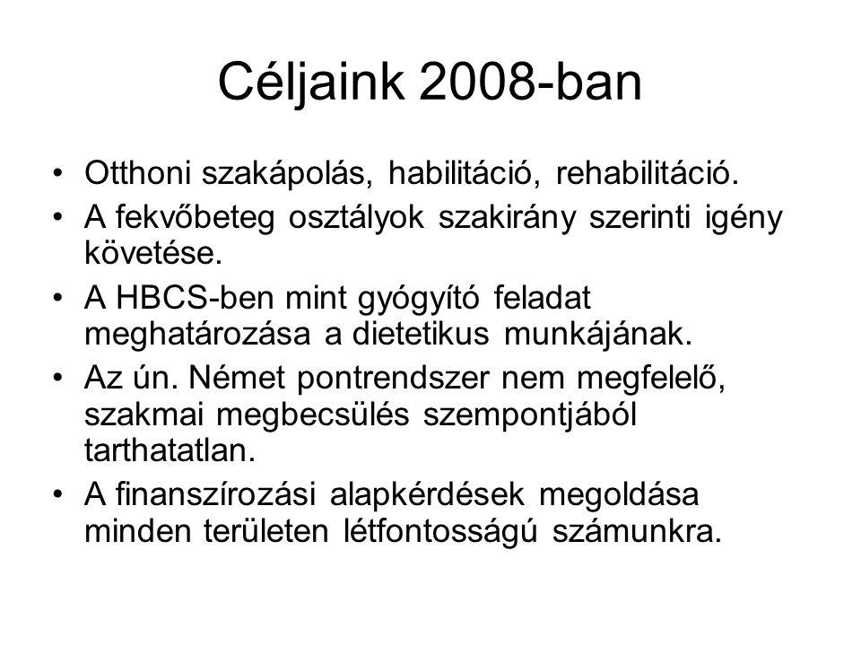 Céljaink 2008-ban Otthoni szakápolás, habilitáció, rehabilitáció.